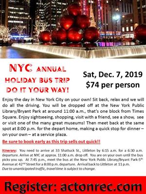 NYC Holiday Bus Trip Flyer